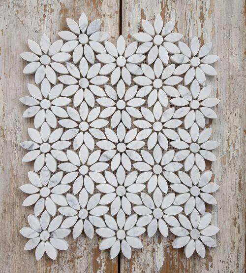 Italian Carrara Marmor Blomst