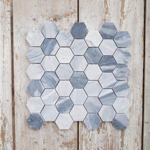 Scandinavian blå Marmor Hexagon